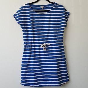 J. Crew XS Striped  Dress/Swim Cover Blue Cotton